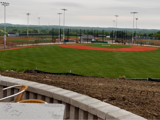 A view of the baseball diamond can be enjoyed from the Umbrella Bar at The Rock in Franklin.