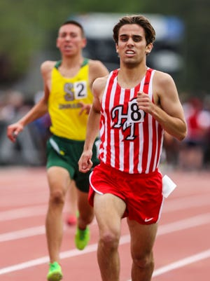 Owen Long, of Haddon Twp, finishes in second place in the Group I 1,600-meter run during the NJSIAA Track and Field State Championships at Egg Harbor High School on Friday.