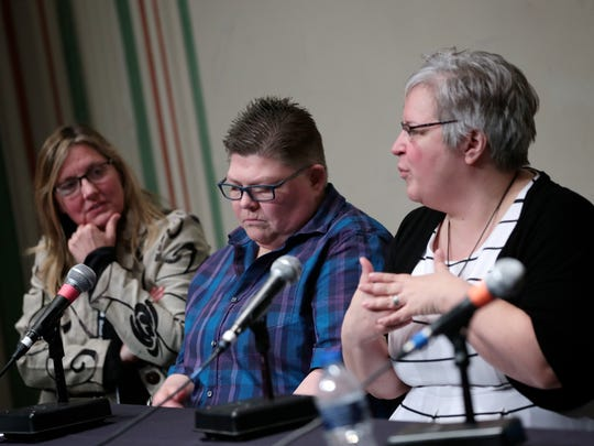 "(From left) Director Mandi Wright and film subjects Jayne Rowse and April DeBoer during a panel discussion after the third annual Freep Film Festival world premiere of ""Accidental Activists"" at the Marvin and Betty Danto Lecture Hall in the DIA on Saturday, April 2, 2016, in Detroit."