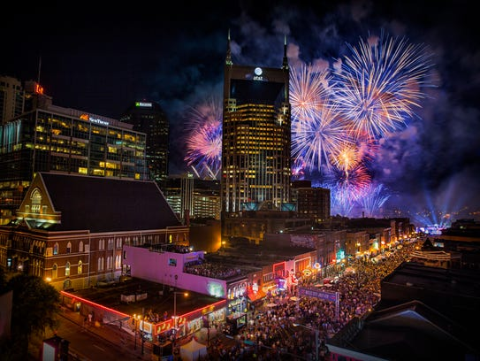Nashville skyline at the Fourth of July