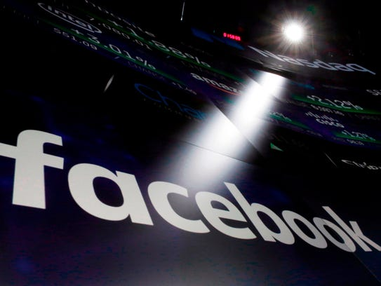 In this March 29, 2018, file photo the logo for Facebook
