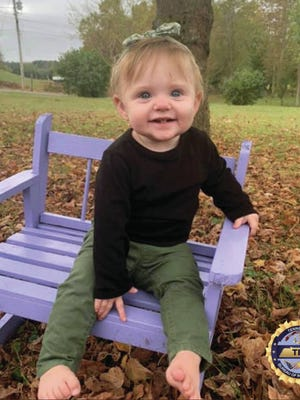 This undated photo released by the Tennessee Bureau of Investigation shows Evelyn Mae Boswell. Investigators in Tennessee worked all night Wednesday, Feb. 19, 2020 and into Thursday morning searching for the 15-month-old girl who hasn't been seen since the day after Christmas.