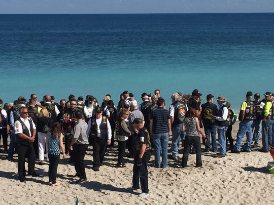 Veterans gather at Wabasso Beach for a tribute to Len Dube.