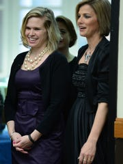 Somerset County Teacher of the Year Sarah Perdue, left,