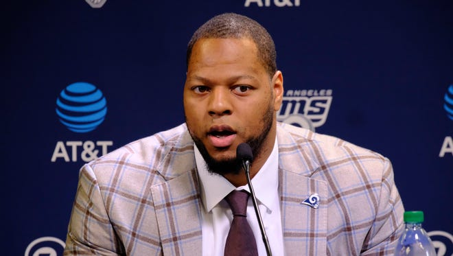 New Los Angeles Rams defensive tackle Ndamukong Suh answers questions during a news conference at the team's practice facility in Thousand Oaks on Friday.