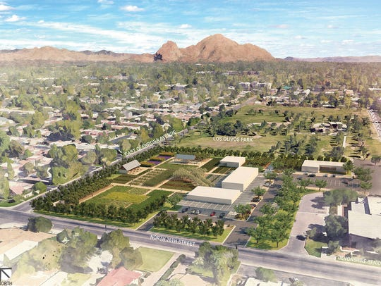 An aerial artist's rendering of The Farm at Los Olivos,