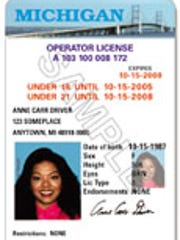 A sample vertical driver's license in Michigan, which
