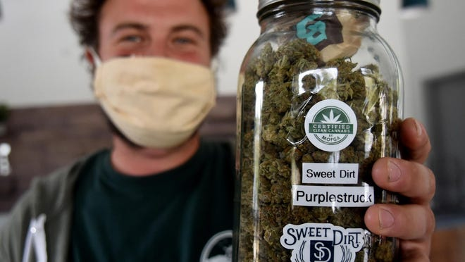 The Purple Struck ACDC flower by Purple Fuzz is one of the choices of cannabis at Sweet Dirt, held by co-founder Hughes Pope.