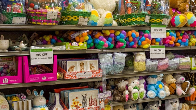 The Publix Super Market at Southdale Shopping Center in West Palm Beach has shelves stocked with Easter baskets and candy. Items are already marked with sales signs. There is a projected drop in spending this holiday due to the coronavirus shutdown.