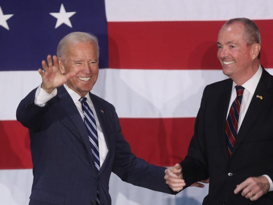 Former Vice President Joe Biden was at the Lyndhurst Recreation Center on Sunday to support Democratic gubernatorial candidate Phil Murphy, right.