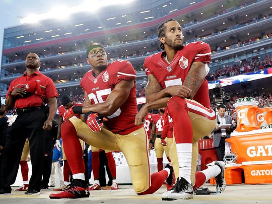 ded0c62ef58 Former 49ers backup quarterback Colin Kaepernick originally started the  protest in the 2016 season by kneeling while The Star Spangled Banner  before ...