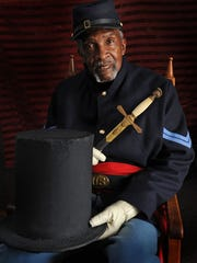 """Robert Chase, a descendant of Nathaniel """"Uncle Nace"""" Hopkins, will lead the annual Emancipation Day Parade in Trappe this Saturday. Chase wears a reproduction of the Union uniform Hopkins wore when he led the parade he organized in 1867."""