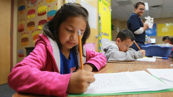 Sarai Lopez works on a class assignment last week. Sarai is in the dual language program at Canutillo Elementary School.