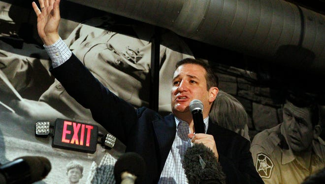 Republican presidential candidate Sen. Ted Cruz, R-Texas, speaks during a campaign stop in Florence, Miss., Monday, March 7, 2016. (AP Photo/Rogelio V. Solis)
