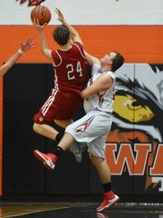Baden Fuller blocks a shot during Piketon's game against