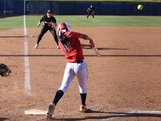 Dixie State's Janessa Bassett hit an RBI triple, as Dixie State defeated California University of Pennsylvania 1-0 on Thursday at the NCAA Division II Softball Championships at ASA Hall of Fame Stadium.
