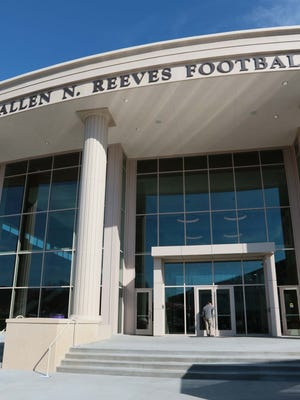 The front steps of the Allen N. Reeves Football Complex in Clemson.