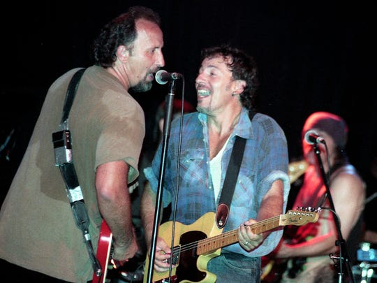 Joe Grushecky and the Houserockers are joined on stage by Bruce Springsteen, Steven Van Zandt and Max Weinberg at the Tradewinds Night Club in Sea Bright, NJ on July 22,1995.COPYRIGHT:MARK R. SULLIVAN/markrsullivan.com©2015