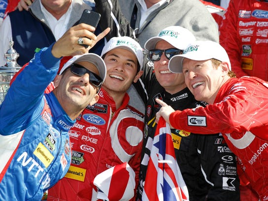 From left to right, the winners of the IMSA 24 hour