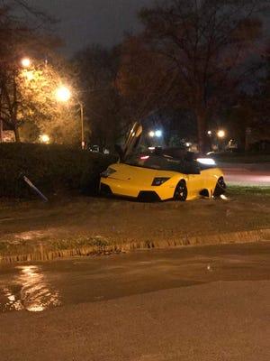 Lamborghini involved in a crash on East Avenue on Sunday, May 6, 2018.