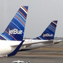 JetBlue Airways began flying from Detroit to Boston non-stop in March. This was its first flight, flight 2036, after arriving at Boston Logan Airport March 10.