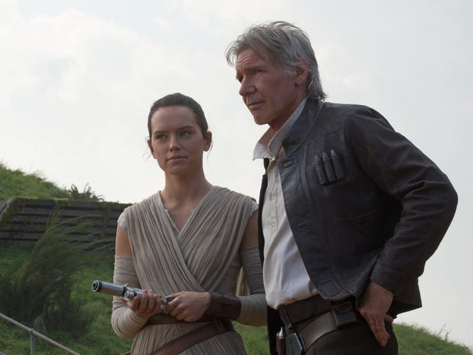 Rey (Daisy Ridley) and Han Solo (Harrison Ford) encounter