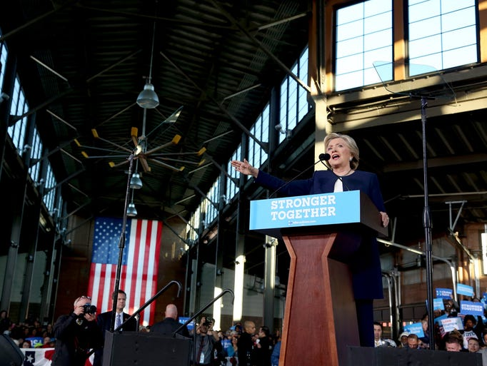 Democratic presidential candidate Hillary Clinton talks