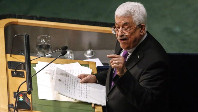 Palestinian Authority President Mahmoud Abbas addresses the 70th Session of the United Nations General Assembly  in New York on Sept. 30, 2015.
