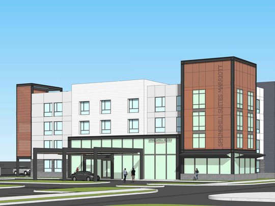 This rendering shows Springhill Suites, one of two hotels planned for Oxnard's RiverPark.