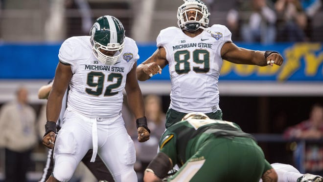 Saturday's game against Penn State will be the last at Spartan Stadium for seniors Joel Heath (92) and Shilique Calhoun (89).