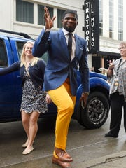 Predators defenseman P.K. Subban arrives for his first regular season game as a Predator at Bridgestone Arena.