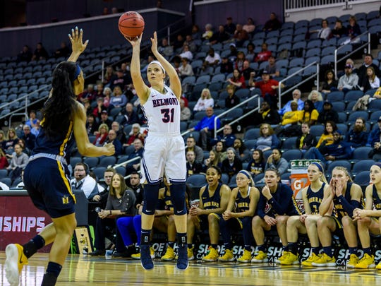 Belmont's Maura Muensterman (31) attempts a three-pointer