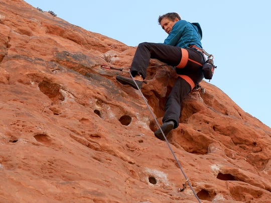 Todd Perkins reaches the top of the Chuckwalla Wall in St. George. He is the owner of Southern Utah Guiding.