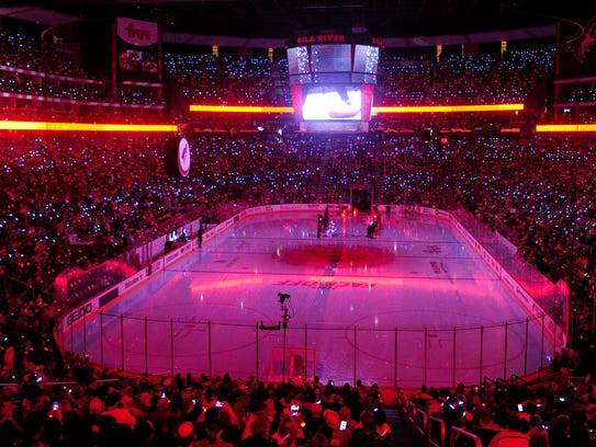 Coyotes fans fill Gila River Arena for the game between