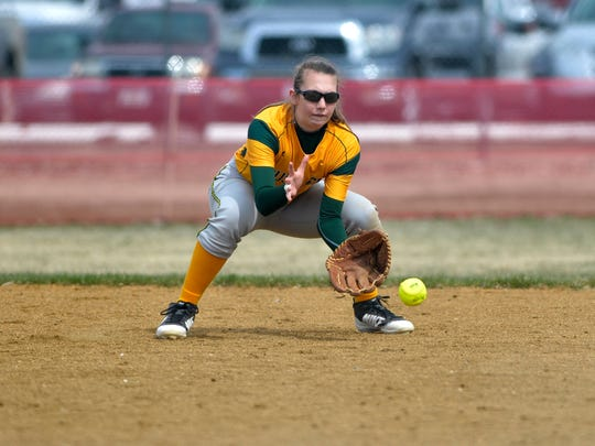CMR second baseman Kylie Allen fields a ground ball against Fergus High of Lewistown this past softball season.