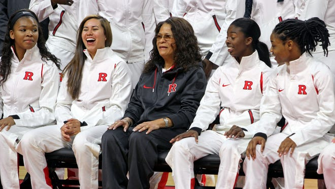 Coach Vivian Stringer poses for a group shot with her team on 2015 Rutgers Women's basketball media day at the Louis Brown Athletic Center in Piscataway.