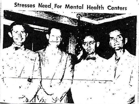 Jim Beindorf, Civilian president; Dr. Melvin Reed; Ben Henderson, secretary; and Don Scher, vice president from Dec. 28, 1956. Reed, chief psychologist consultant for the Florida State Board of Health, spoke to Civilians, their wives and guests, stressing the urgent need for mental health centers and hospitals in Florida.