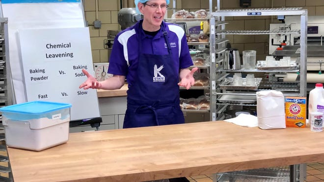 Aaron Clanton, a baking science instructor in K-State's Department of Grain Science and Industry, gave Kansas 4-Her members a chemistry lesson on the important differences associated with using baking powder or baking soda in recipes during an online event created by Lindsey Mueting, a 4-H youth development agent in McPherson County.