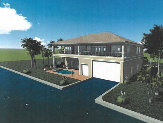 A rendering of the proposed cut-in nautical garage.