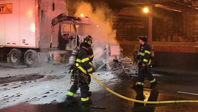 A truck caught fire on the George Washington Bridge, causing delays.