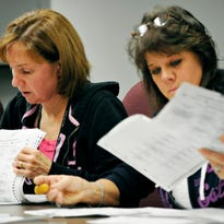 Deb Muehring (left) and Debbie Backes recount ballots in the St. Cloud Ward 2 council seat race at the City Hall Friday, Nov. 21. Ballots were taken out of boxes and counted then returned and sealed.