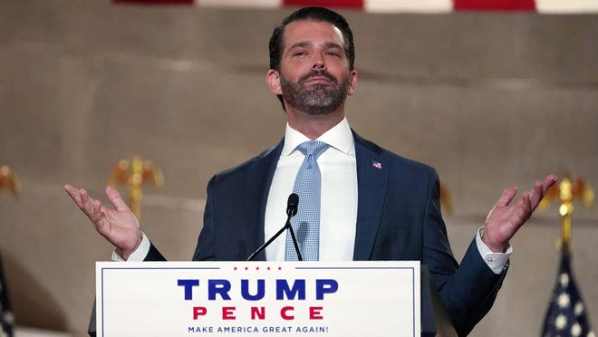 Donald Trump Jr., speaks as he tapes his speech on Aug. 24 for the first day of the Republican National Convention from the Andrew W. Mellon Auditorium in Washington.