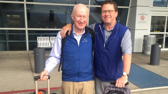 Former Hamilton County Commissioner Greg Hartmann, right, and his father, Robin, traveled to Vietnam this spring. Robin Hartmann is a Vietnam war veteran.