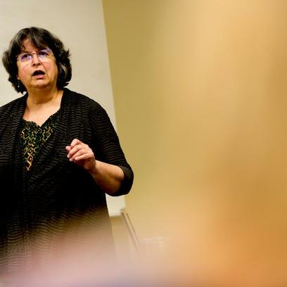 Dr. Stella Schramm teaches her finance class at Tusculum