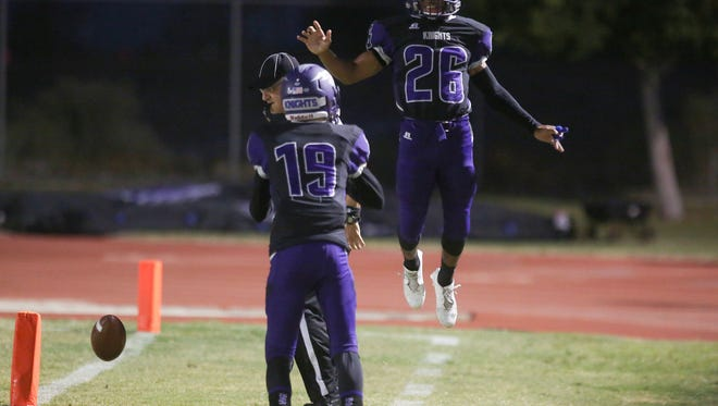 Shadow Hills runner Lee Hawkins celebrates his touchdown on the first play of the game against Cathedral City, September 21, 2017.