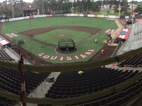 """A look earlier this week at under-renovation Russo Park at M.L. """"Tigue"""" Moore Field, as seen from inside a new suite."""