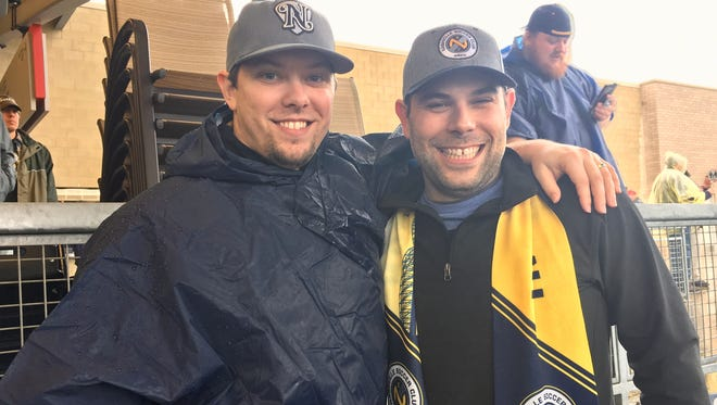Nathan Stuard from Dickson and Justin Buznedo from Nashville were among the first fans to enter First Tennessee Park for the Nashville SC vs. Atlanta United FC exhibition match Saturday.