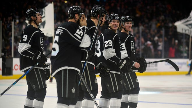Los Angeles Kings forward Dustin Brown (23) celebrates his overtime goal against the Colorado Avalanche.