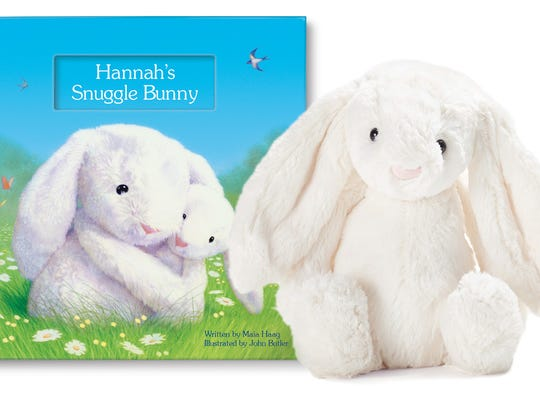A personalized storybook and plush bunny are perfect