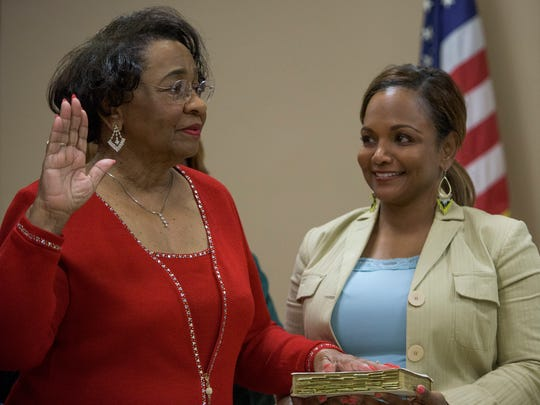 Mary Briers is sworn in as her daughter Erika Tyler